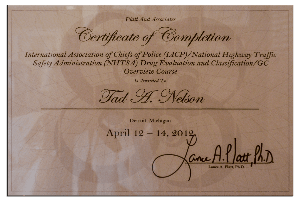 Drug Evaluation & Classification Course Certificate
