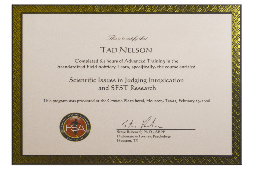 Tad Credentials - 22 - Scientific Issues in Judging Intoxication